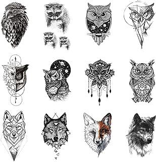 12 Pieces/Lot 3D Black Fun Raccoon Tattoo Stickers Cover Women Temporary Fake Tatoos Owl Men Waterproof Custom Tattoo Supp...
