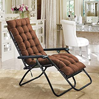 Scorpiuse Sun Lounger Cushion 67-inch Lounge Chaise Cushion Sun Lounger Mattress with Non-Slip Back Elastic Sleeve for Garden Outdoor/Indoor/Sofa/Tatami/Car Seat/Bench(67 x 21 x 3 inch, Coffee)