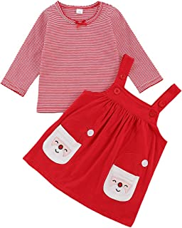 Newborn Baby Girl Christmas Outfit Long Sleeve Stiped T-Shirt Top+Santa Claus Pocket Suspender Skirt 2PCS Clothes Set