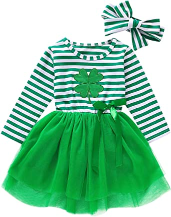 St Patricks Day Outfits Toddler Baby Girls Clover Dress Striped Long Sleeve Mesh Tutu Skirts with Headband 2PCS Se