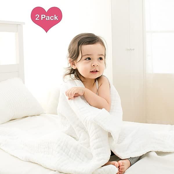 100 医用级天然纯棉超强吸水柔软舒适适合婴儿娇嫩肌肤的纯棉纱布保暖婴儿浴巾也可用于婴儿毯 2 件