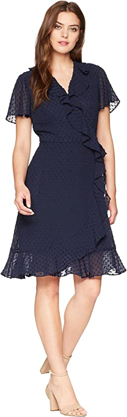 Swiss Dot Ruffle Wrap Dress