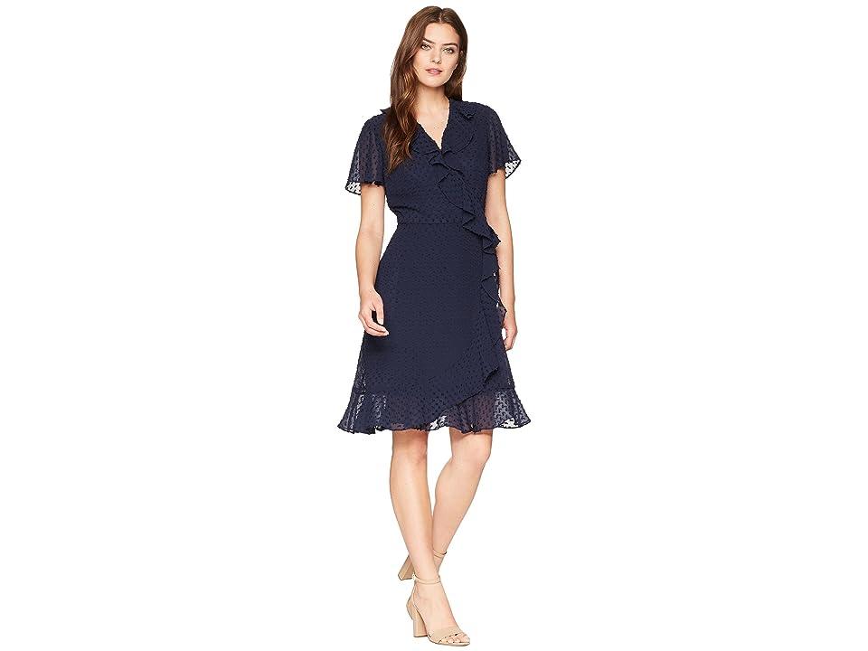 Tahari by ASL Swiss Dot Ruffle Wrap Dress (Navy) Women