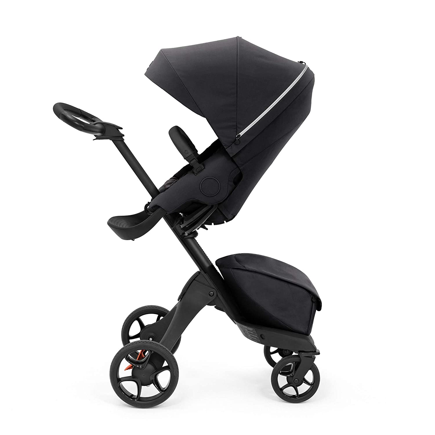 Stokke Xplory X, Rich Black - Luxury Stroller - Adjustable for Both Baby & Parents' Comfort - Padding, Harness & Reflective Zipper for Added Safety - Folds in One Step