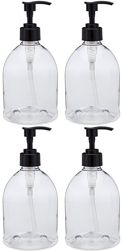 (4 Pack with Patented Screw-On Funnel) Earth's Essentials Versatile 16 Ounce Refillable Designer Pump Bottles. Excellent Liquid Hand Soap, Homemade Lotion, Shampoo and Massage Oil Dispensers.