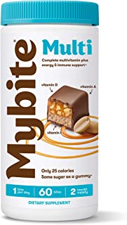 Mybite Chocolate Multivitamin, 60 Bites, Vitamins A, B6, B12, C, D, E, Folate, Delicious Supplement with Immune Support fo...