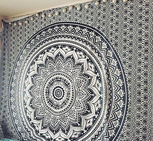 Twin Grey Black Ombre Tapestry by JaipurHandloom Gray Ombre Bedding, Mandala Tapestry, Dorm Decor Indian Mandala Wall Art Hippie Wall Hanging Bohemian Bedspread