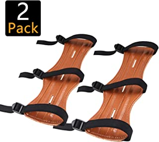 ANADPE Archery Armguard, Leather Universal Forearm Protector Adjustable Bow Hunting Arm Guard Bow Bracers Brown (2 Pack)