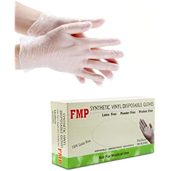 [100 Pack] Disposable Vinyl Gloves, Medium Size, Non-Sterile, Powder Free, Smooth Touch, Food Service Grade