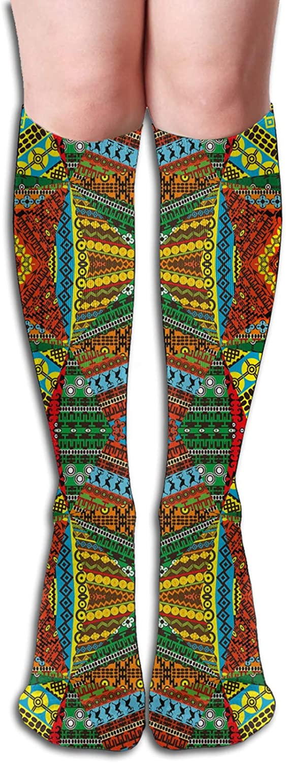 Compression Socks for Men/Women Collage Of Ethnic Native Motifs Ancient Art Traditional Old Fashioned Cultural Socks Best for Circulation,Medical,Running,Athletic,Nurse,Travel 8.5 x 50cm