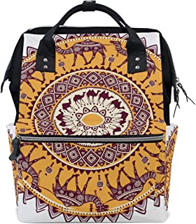Backpack for Men Women, Mandala Round with Camel Casual Water-Resistant College School Backpack