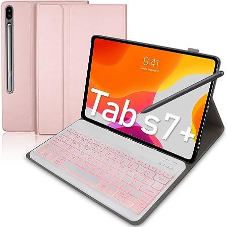Upworld - Funda para teclado Samsung Galaxy Tab S7 +/Tab S7 Plus de 12,4 pulgadas, versión 2020 (SM-T970/T975/T976) 7 colores retroiluminado teclado ...
