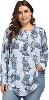 Hanna Nikole Women's Plus Size Casual Floral Tunic Tops 3/4 Sleeves Loose Blouse Button Up Shirts