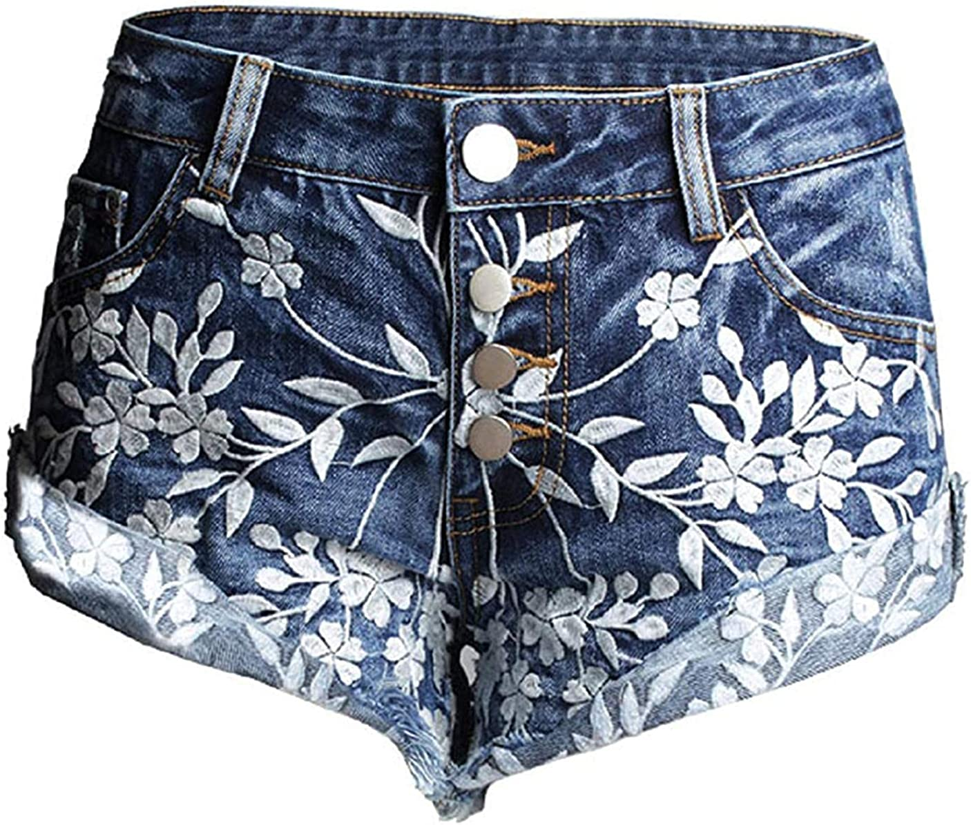 Rsqsjgkert Women's Chic Distressed Low-Rise Embroidered Roll Up Jeans Denim Shorts