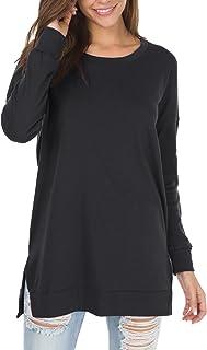 levaca Women's Fall Long Sleeve Side Split Loose Casual...