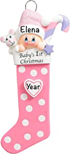 Baby's First Christmas Ornament 2021 Pink - Polyresin Baby Girl's 1st Christmas Stocking Ornaments - My First Christmas Baby Girl Ornament 2021 - Personalized Baby Gifts for Newborn Girl