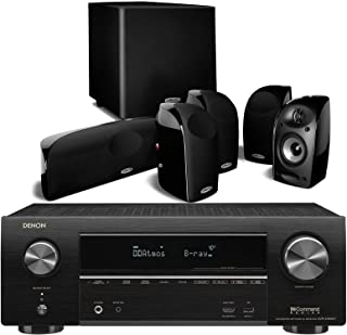 Denon AVR-X1600H UHD 7.2-Channel AV Receiver Bundle with Polk Audio TL1600 5.1 Compact Home Theater System & Powered Subwoofer - Black