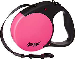 Doggo Everyday Retractable Dog Leash with Soft Grip Handle with 110 lb. Support, Pink/Black, Large