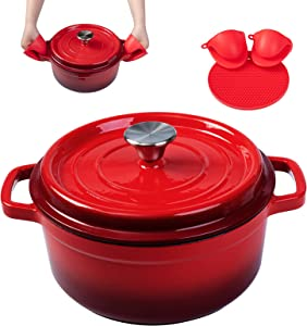 Enameled Cast Iron Dutch Oven Pre-seasoned Pot with Lid & Handles, 5 Quart Enamel Coated Cookware Pot with Silicone Handles and Mat for Cooking, Basting, or Baking