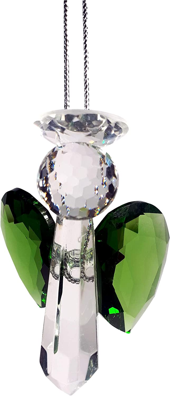 Rainbow crystal Manufacturer direct delivery Green Guardian Angel Las Vegas Mall Suncatcher Crystal Ma Hand