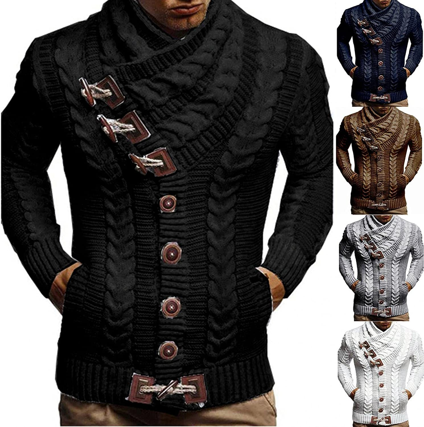 Men's Turtleneck Pullover Sweaters Cable Knitted Button Down Sweatshirts Coat Novelty Scarf Neck Thermal Top Blouse