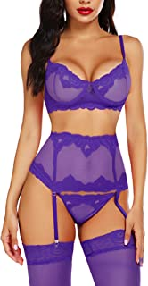 ADOME Women Sexy Lingerie Set with Garter Bra and Panty Set Lace Babydoll Bodysuit