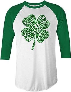 Threadrock Green Four Leaf Clover Typography Unisex Raglan T-Shirt