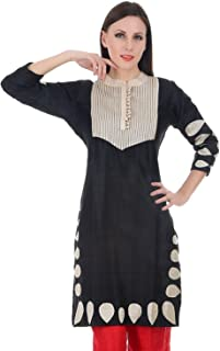 Devaleena Creations Black Silk Kurta Cuthole work on the sleeves and Hemming-tuckwork yoke for ladies