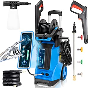3800PSI Portable Pressure Washer , 2.8GPM Power Electric Pressure Washe,4 in 1 Nozzles Power Washer Rimdoc1800W , Professional Car Washer Cleaner for Cleaning Cars House Garden (Touch Screen Version