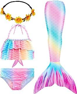 iLyberkiok Mermaid Tail Swimmable Bikini Swimming Costumes 4pcs Sets for Little Girls Birthday Gift 3-12 Years (No Monofin)