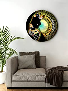 999Store small frames for wall decor room office Indian Lady Face Black Color Round Shape wall art painting wall hanging (...