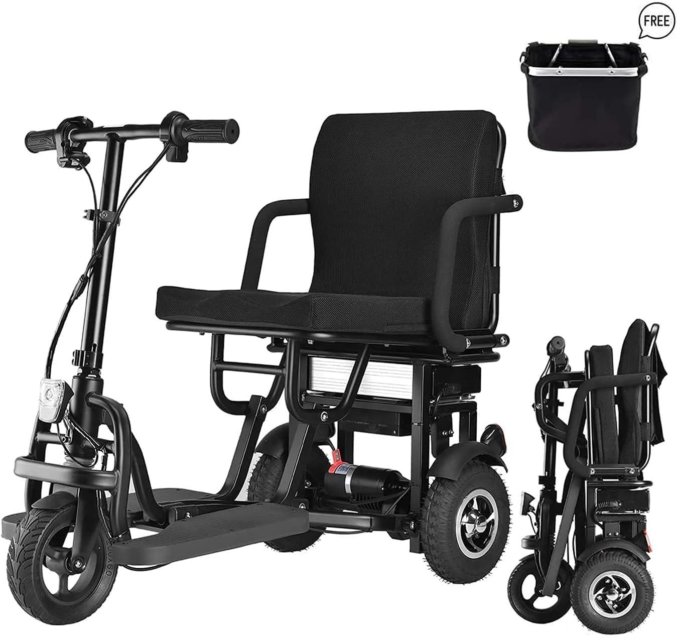 SLRMKK Scooter de Movilidad eléctrico Plegable de 3 Ruedas, Ligeros y portátiles, Scooters de Viaje eléctricos - Soporta 120 kg de Peso, Solo 26 kg de Largo Alcance (12 km)