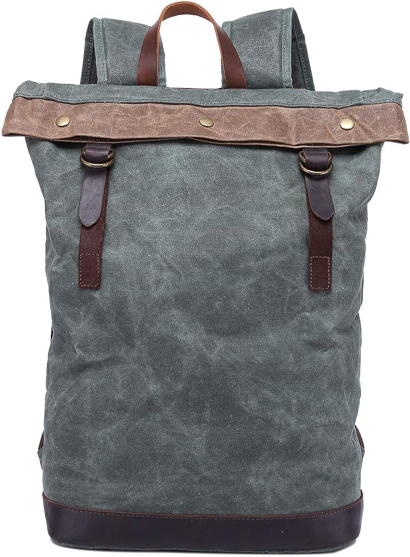 Backpack Durable Canvas Daypack Unisex Rucksack Water Repellant Laptop Pocket