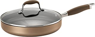 Anolon Advanced Hard Anodized Nonstick Round Grill Pan / Griddle Pan with Lid - 11 Inch, Bronze