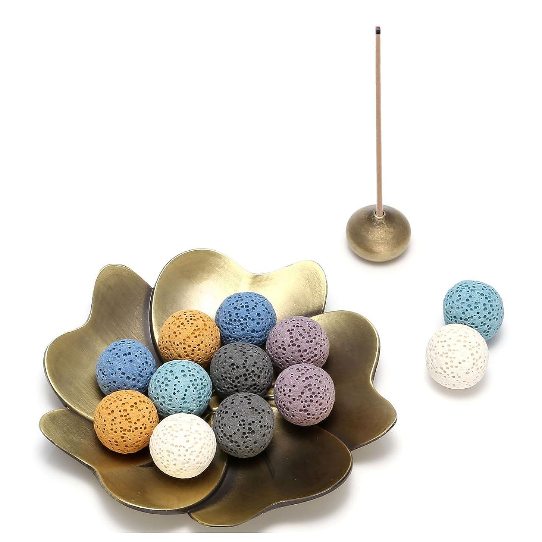 ナンセンス合図土曜日(Lava Stone Ball Beads) - Jovivi 14 pcs Lava Stone Beads for Essential Oils W/Sakura Brass Incense Burner Stick Incense Holder - Aromatherapy Diffuser Decoration Set(Lava Stone Ball Beads)