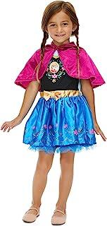 Frozen Elsa Anna Girls Costume Dress with Hooded Cape