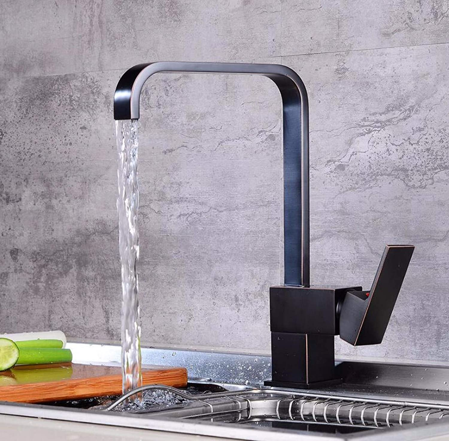 MulFaucet European Black Bronze Kitchen Dinner Plate Faucet Retro Square hot and Cold redating Sink Faucet