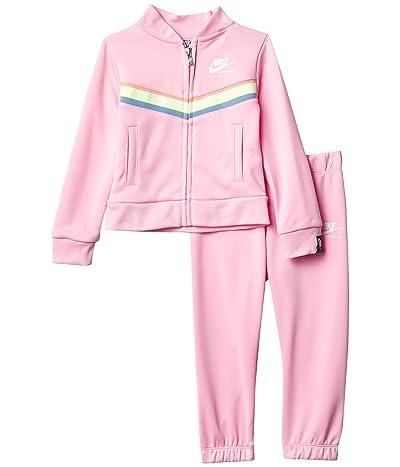 Nike Kids Rainbow Trim Full Zip Jacket Pants Two-Piece Set (Toddler) (Pink) Girl