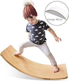 HAN-MM Wooden Balance Board Wobbel Balance Board Kid Yoga Board Curvy Board - Wooden Rocker Board 35 Inch Kid Size Creamy-White