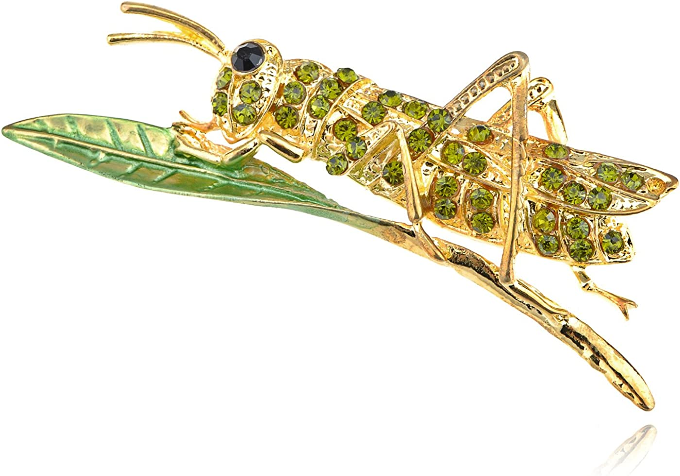 Alilang Golden Dark Green Crystal Rhinestone Leaf Grasshopper Locust Cricket Pin Brooch
