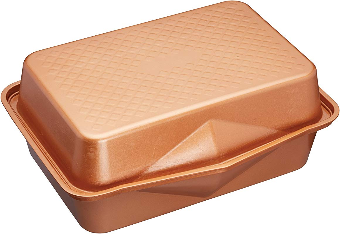 MasterClass Smart Ceramic Roasting Pan With Dual Function Lid Copper Color