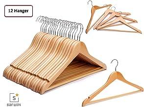 STAR WORK Wooden Garment Hangers with 360 Degree Swivel Chrome Hook (Beige)