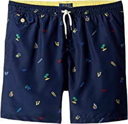 Traveler Print Swim Trunks (Big Kids)