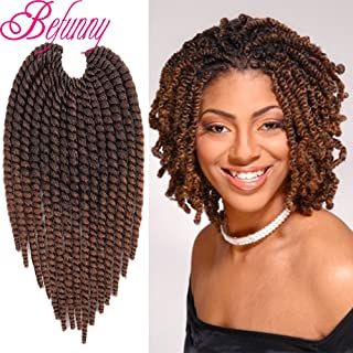 Jumbo Spring Twist Hair Ombre Brown Havana Twist Crochet Hair 6 Packs Short Senegalese Crochet Braids Pre Looped Crotchet Twist Braiding Hair Extensions For Black Women 15Strands/Pack(8 Inch,T1B/30#)