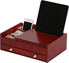 Mele & Co. Davin Men's Wooden Dresser Top Valet in Dark Burlwood Walnut Finish