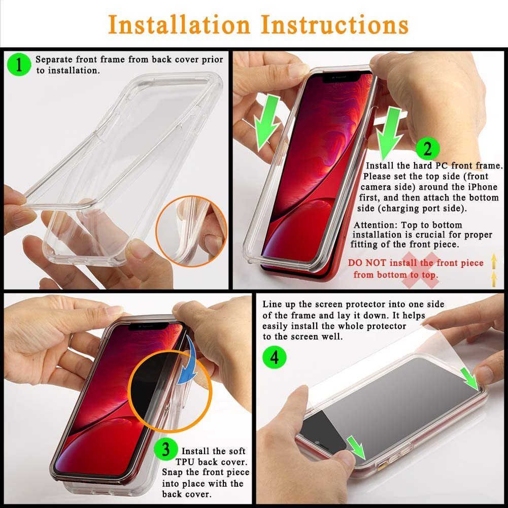 COOLQO Compatible for iPhone 12 Mini Case 5.4 Inch, with [2 x Tempered Glass Screen Protector] Clear 360 Full Body Coverage Silicone Protective 12 ft Shockproof for iPhone 12 Mini Cases Phone Cover
