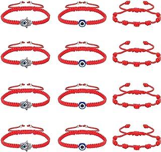LOLIAS Pulsera Roja 7 Nudos para Mujeres Hombres Pulsera Roja Mal Ojos Kabbalah Pulseras Amuletos Pulsera Buena Suerte de ...