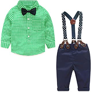 Yilaku Baby Boys Clothes Set 4pcs Summer Newborn Infant Outfits Gentleman Suit Suspender Trousers+Shirt+Bow Tie