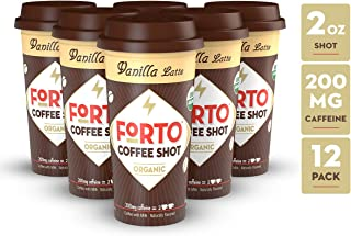 FORTO Coffee Shots - 200mg Caffeine, Vanilla Latte, Ready-to-Drink on the go, Cold Brew Coffee Shot - Fast Coffee Energy Boost, Pack of 12