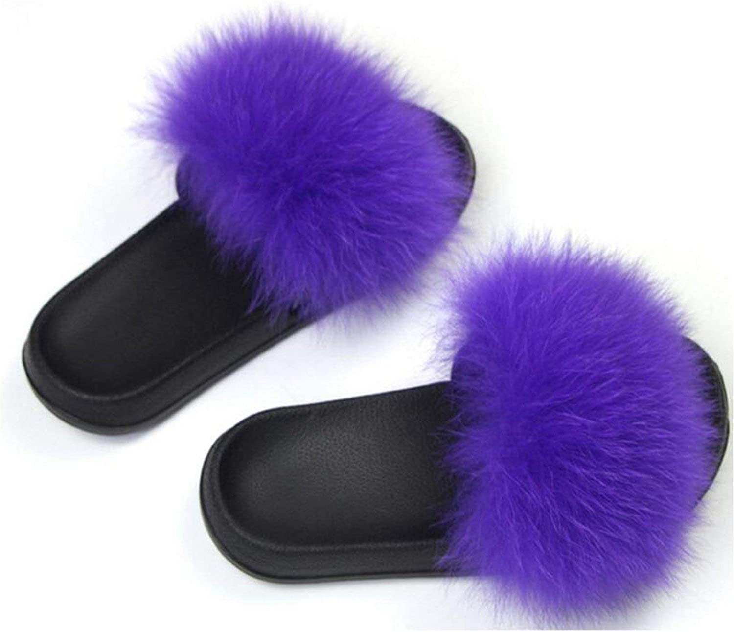 Leifun Women's Fox Hair Slippers Warm Furry Slippers Plush Fashion Indoor Solid Slippers